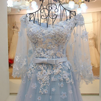 Long Sleeves Tulle Flower Appliques Quinceanera Dresses_5