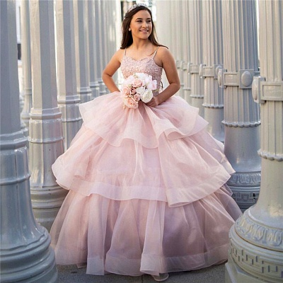 Attractive Spaghetti Straps Beadings Sleeveless Sweet 16 Dresses | Tiered Ball Gown Quince Dresses Long_1