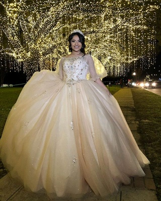 Exquisite Bateau Beadings Ball Gown Quinceanera Dresses | Illusion Half-Sleeves Sweet 16 Dresses Long_2