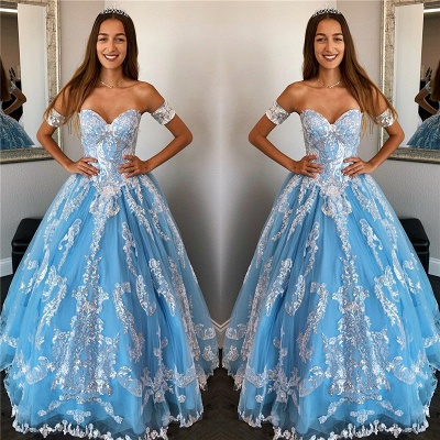 Exquisite Off-the-shoulder Beadings Ball Gown Sweet 16 Dresses | Appliques Quinceanera Dresses Long_1
