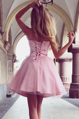 Pink Romantic Sweetheart Strapless Quinceanera Short Dama Dress_2