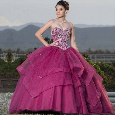 Attractive Sweetheart Beadings Sleeveless Sweet 16 Dresses | Tiered Ball Gown Quince Dresses Long_1