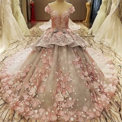 Glamorous Floral Tulle Illusion Neckline Sleeveless Ball Gown Quinceanera Dresses_1