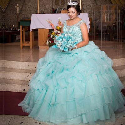 Excellent Green Scoop Beadings Ball Gown Quince Dresses | tiered XV Dresses Long_1