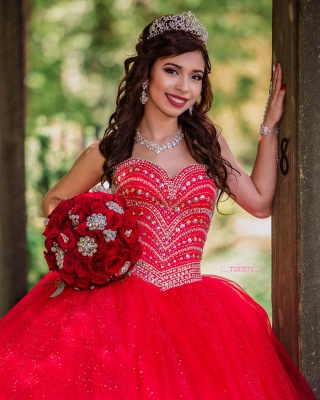 Fascinating Watermelon Red Sweetheart Ball Gown Quinceanera Dresses | Beadings 15 Dresses Long_2