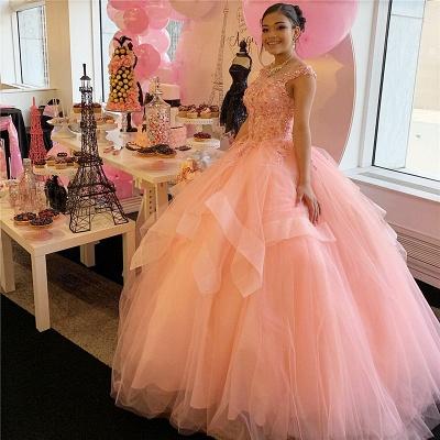 Marvellous Scoop Ball Beadings Sweet 16 vestidos | Apliques Quinceañera Vestidos Largos_1