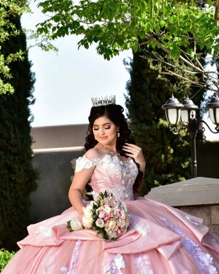 Fascinating Off-the-shoulder Appliques Ball Gown Quinceanera Dresses | Appliques 15 Dresses Long_4