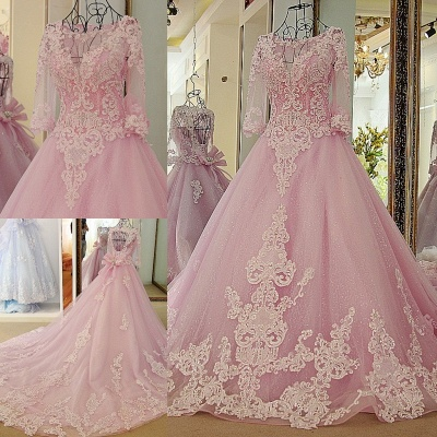 Stylish Appliques Long-Sleeves Quinceanera Dress_1