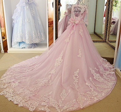 Stylish Appliques Long-Sleeves Quinceanera Dress_2
