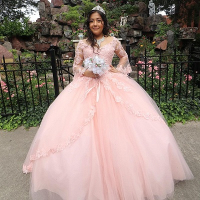 New Arrival Brilliant Jewel Illusion Long Sleeves Quinceanera Dresses | Lace Ball Gown XV Dresses_1