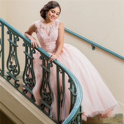 Wonderful Pink Jewel Sleeveless Appliques 15 Dresses | Pretty Quinceanera Dresses Long_2