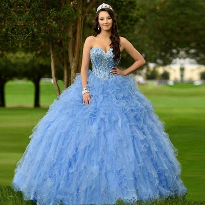 Beautiful Blue Sweetheart Sleeveless Ball Gown Quinceanera Dresses | Ruffles Beadings 16 Dresses Long_1
