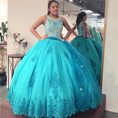 Exquisita joya listones vestido de bola dulce 16 vestidos | Apliques con cordones de quinceañera vestidos largos_1