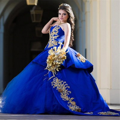 Charming Royal Blue Sweetheart Ball Gown Embroidery Quince Dresses | Sweep Train 16 Dresses Long_1