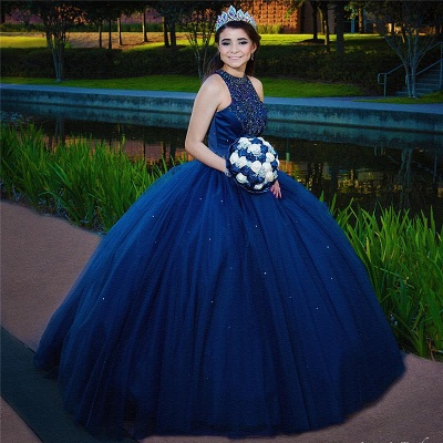 Attractive Ink Blue Jewel Beadings Sleeveless Sweet 16 Dresses | Ball Gown Quince Dresses Long_2