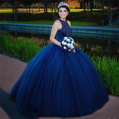 Atractiva tinta azul joya Listones sin mangas dulce 16 vestidos | Vestido de fiesta vestidos de membrillo largo_2