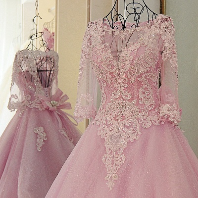 Stylish Appliques Long-Sleeves Quinceanera Dress_3