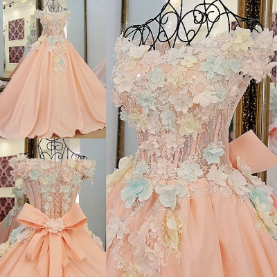 3-D Flowers Sleeveless Ball-gown Ribbon Knot Quinceanera Dresses_5