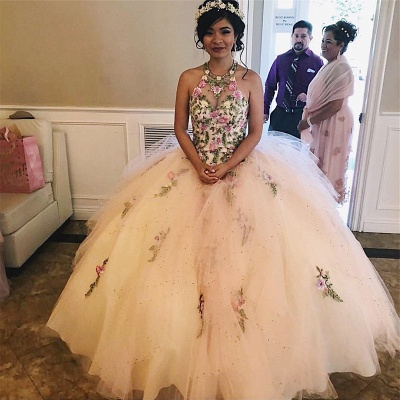 Wonderful Jewel Sleeveless Appliques Sweep train 15 Dresses | Open Back Quinceanera Dresses_1