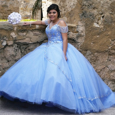 Marvelous Spaghetti Straps Beadings Ball Gown Sweet 16 Dresses | Stunning Quinceanera Dresses Long_1