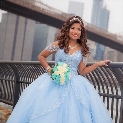 Exquisite Off-the-shoulder Ball Gown Quinceanera Dresses | Beadings Sweet 16 Dresses Long_4