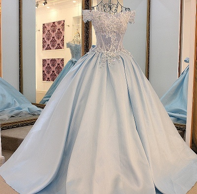 Off-the-Shoulder Sleeveless Appliques Quinceanera Dress_1
