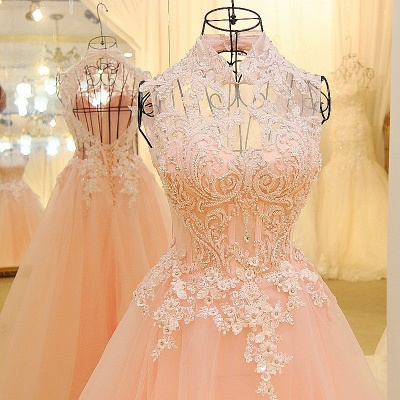 Elegant High Neck Appliqued Tulle Long Quinceanera Dresses_4