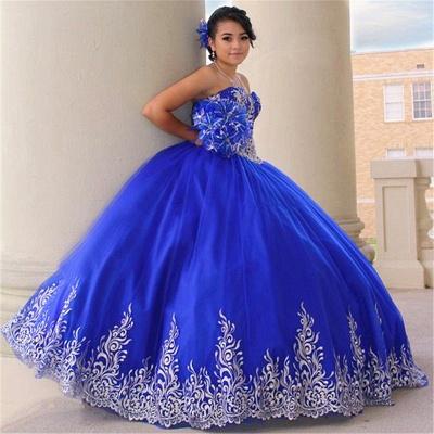 Atractivos apliques de color azul real sin mangas Vestidos | vestidos de membrillo largo_1