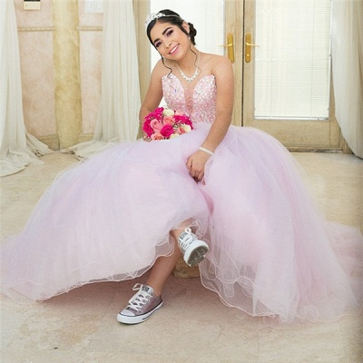 Excellent Sweetheart Beadings Ball Gown Quince Dresses | Sleeveless XV Dresses Long_2