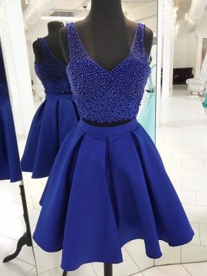 Two-Pieces Straps Beading Sleeveless Dama Dress_1