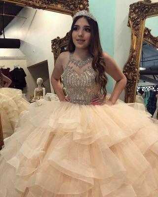 Marvelous Jewel Beadings Ball Gown Sweet 16 Dresses | Cascading Ruffles Quinceanera Dresses Long_3