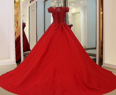 Exquisite Off the Shoulder Beadings Long Quinceanera Dress_3