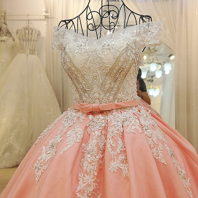 Ball-gown Off-the-shoulder Appliques Sash Quinceanera Dresses_3