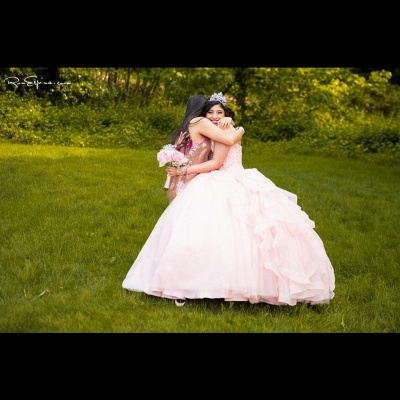 Fascinating Pink Jewel Ruffles Ball Gown Quinceanera Dresses | Beadings 15 Dresses Long_2