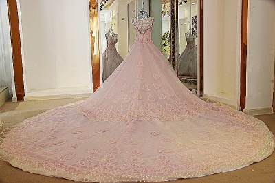 Exquisite Sweetheart Appliques Pearls Quinceanera Dress_3