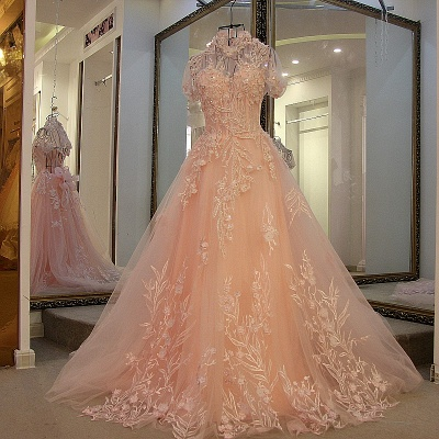 A-line High Neck Tulle Appliques Short Sleeves Quinceanera Dresses_4
