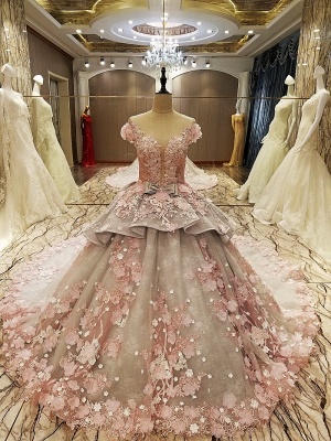 Glamorous Floral Tulle Illusion Neckline Sleeveless Ball Gown Quinceanera Dresses_2