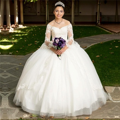 Marvelous White Off-the-shoulder V-neck Ball Gown Sweet 16 Dresses | Appliques Long-Sleeves Quinceanera Dresses Long_1