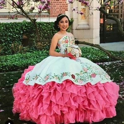 Vestido de bola bordado cariño encantador vestidos de membrillo | Sin mangas con gradas 16 vestidos largos_2