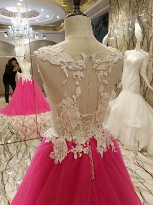 Apliques de encaje Vestidos de quincea_era | Longitud del piso sin mangas Tren largo Tul_4