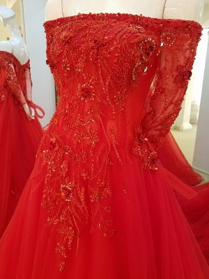 Off-the-shoulder Floor Length Crystal Beading Tulle Quinceanera Dresses with Sleeves_4