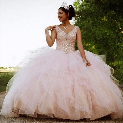 Gorgeous V-neck Appliques Ball Gown Quinceanera Dresses | Beadings Ball Gown XV Dresses_1