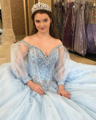 Attractive Off-the-shoulder Beadings Sweet 16 Dresses | Illusion Long-Sleeves Ball Gown Quince Dresses Long_2