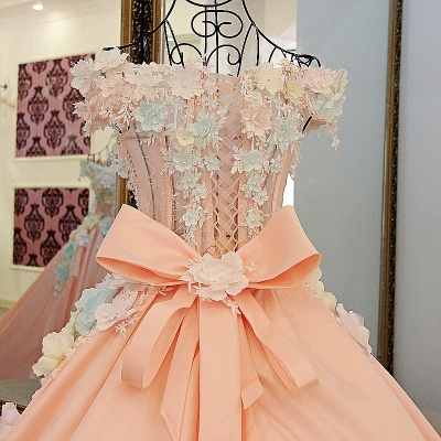 3-D Flowers Sleeveless Ball-gown Ribbon Knot Quinceanera Dresses_4