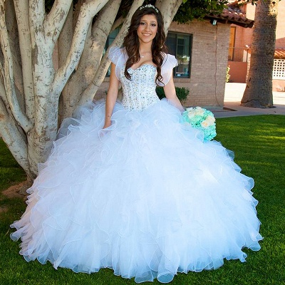 Fascinating White Sweetheart Beadings Ball Gown Quinceanera Dresses | Ruffles 15 Dresses Long_1