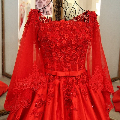 Red Long Sleeves Floor Length Appliqued Quinceanera Dresses with Sash_3