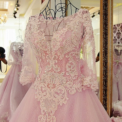 Stylish Appliques Long-Sleeves Quinceanera Dress_5