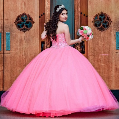 Gorgeous Watermelon Red Jewel Sleeveless Beadings Quinceanera Dresses | Tulle Ball Gown XV Dresses_2