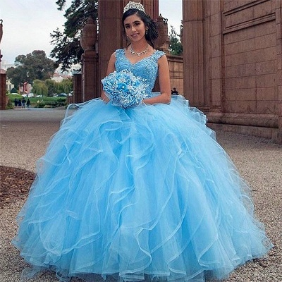 Gorgeous Blue V-neck Appliques Quinceanera Dresses | Layered Beadings Ball Gown XV Dresses_1