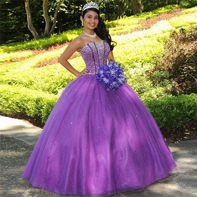 Charming Purple Strapless Ball Gown Quince Dresses | Beadings 16 Dresses Long_1